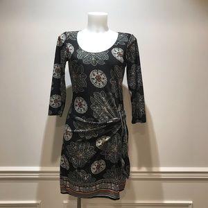 Max Studio Black print side tie dress